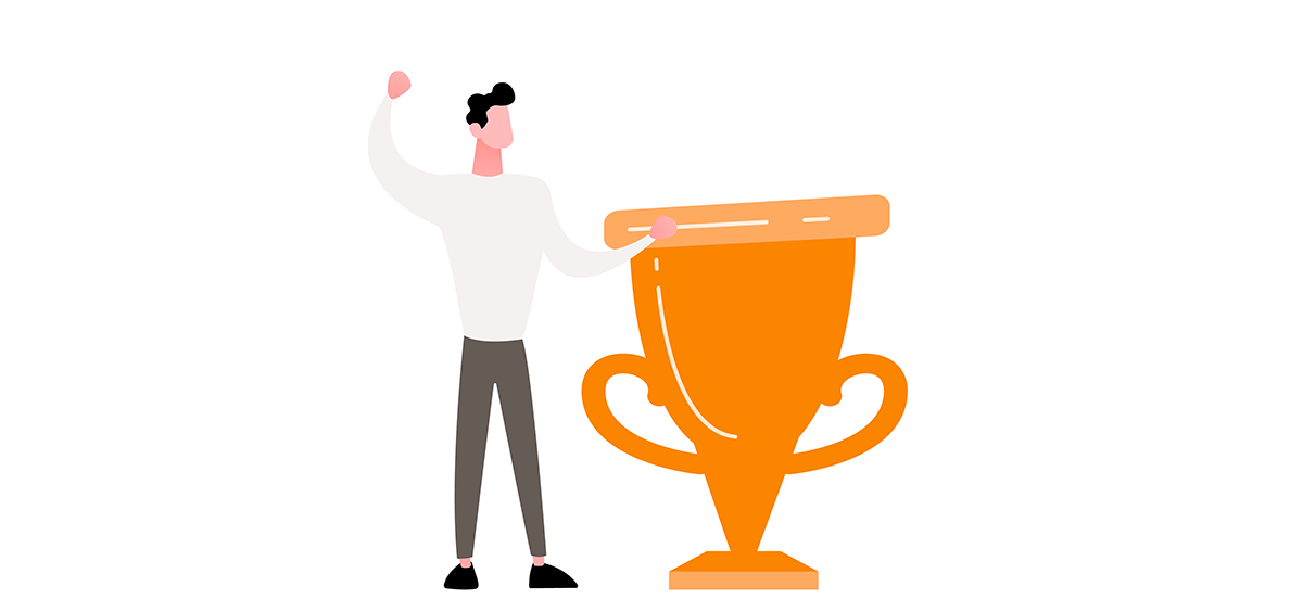 Illustration of man standing next to trophy while punching the air.