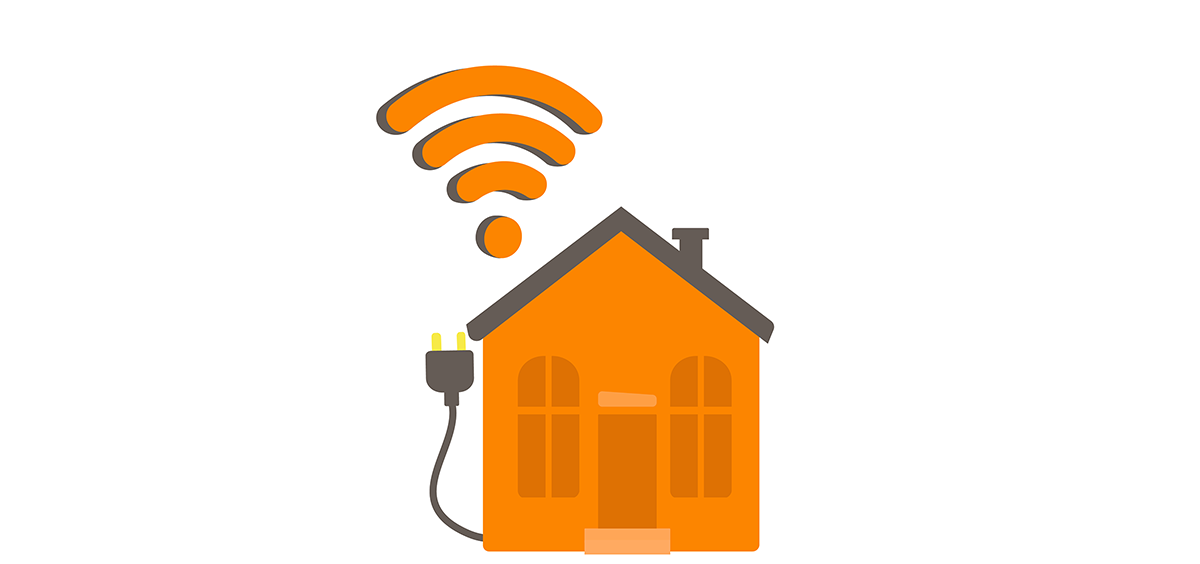 Illustration of house with cable extending out of it and wi-fi symbol floating above.