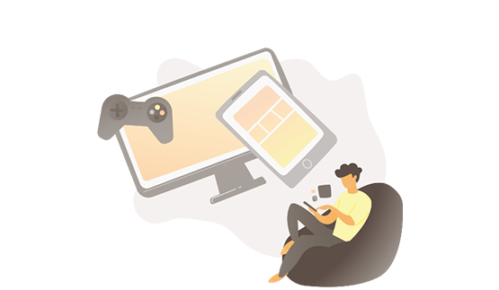 Illustration of man sitting on beanbag and using phone, with other devices floating nearby (games controller, PC and tablet).