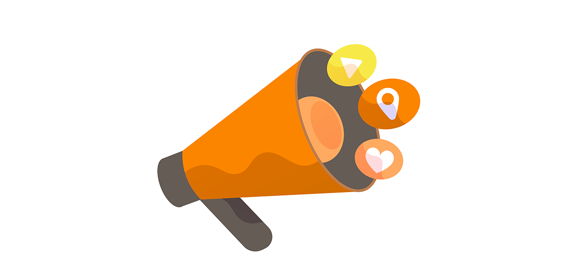 Illustration of megaphone with a location icon, love heart icon and playback icon coming out of it.